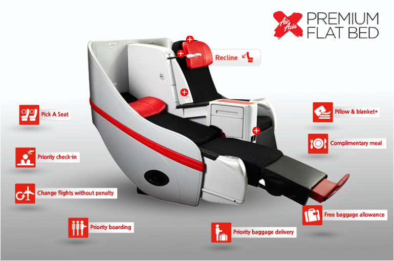 Air Asia Premium Flat Bed - reclined